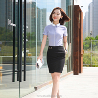 Women Blouse Short Sleeve Shirt For Office Lady Sexy Uniform