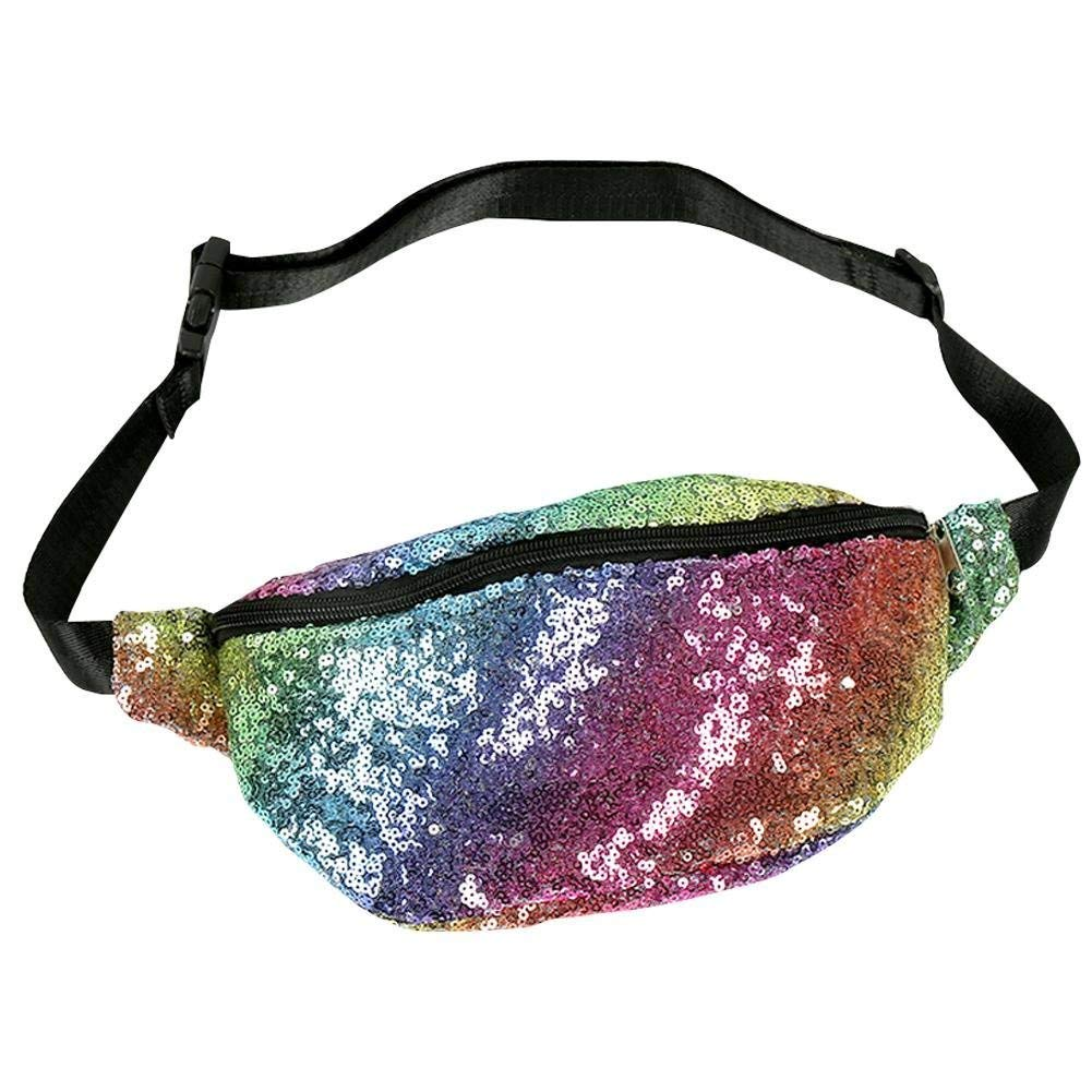 Get Quotations · Sequin Waist Bag Sports Fanny Pack Fashion Magic Reversible  Sequin Waist Pack Hip Pack Belt Bag c22a31c48f33