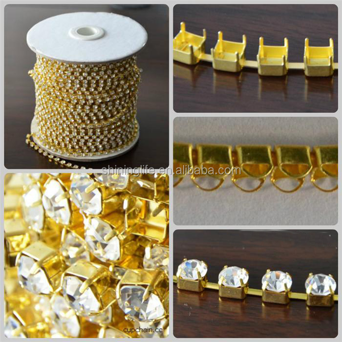 Silver and golden plated crystal chatons rhinestone cup chain trimming