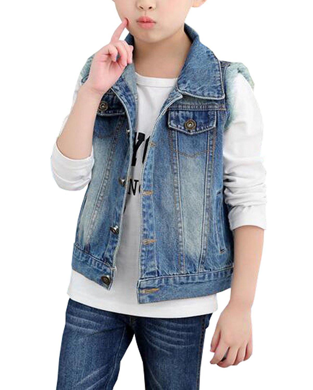 450c3354458df Get Quotations · MYtodo Girls Lapel Vest Children Short Section Sleeveless  Denim Jacket