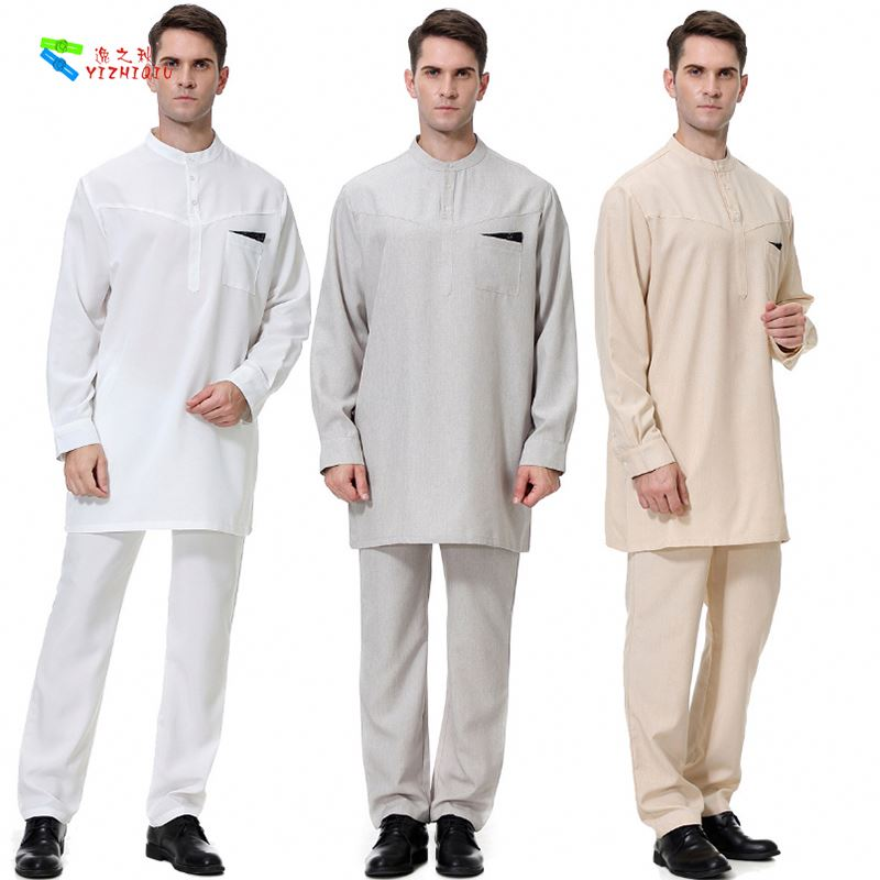 YIZHIQIU National Costumes Arab Middle East Robe Muslim Men Clothing