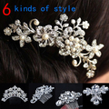 Women Girls Bridal Wedding Silver Crystal Rhinestone Diamante Flower Hair Clip Comb Pin Apparel Accessories Headwear