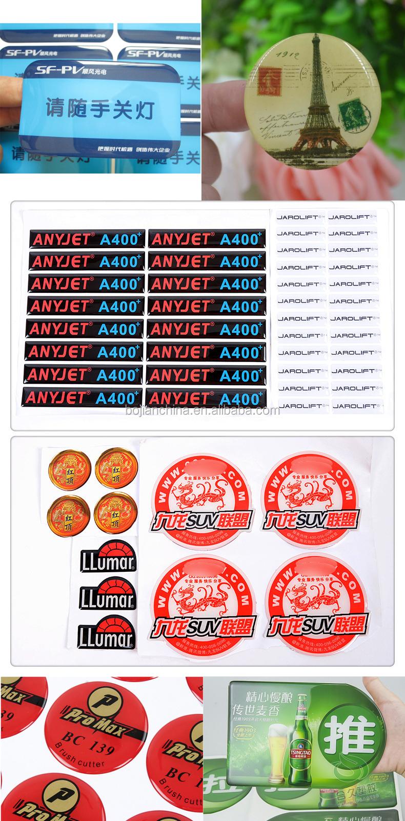 Bojian China aangepaste papier stickers zeefdruk epoxy hars sticker logo print transparante sticker beste kwaliteit