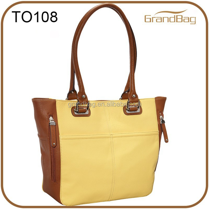 mixed color pebble grain women handbag shoulder tote pu leather bag