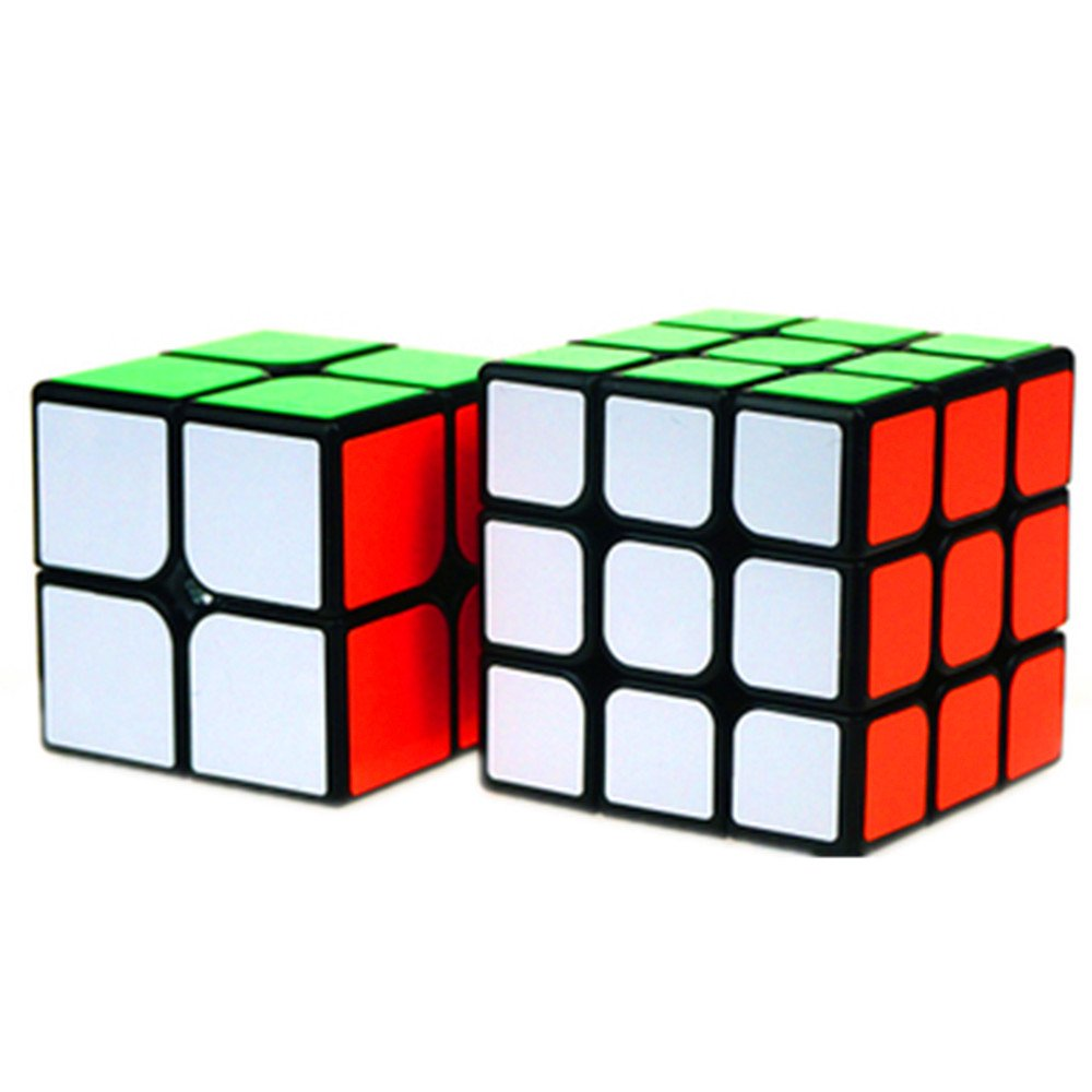 CuberSpeed Bundle MoFang JiaoShi 2x2, 3x3 Black Magic cube Moyu Cubing Classroom MF2S & MF3S Black Speed cube