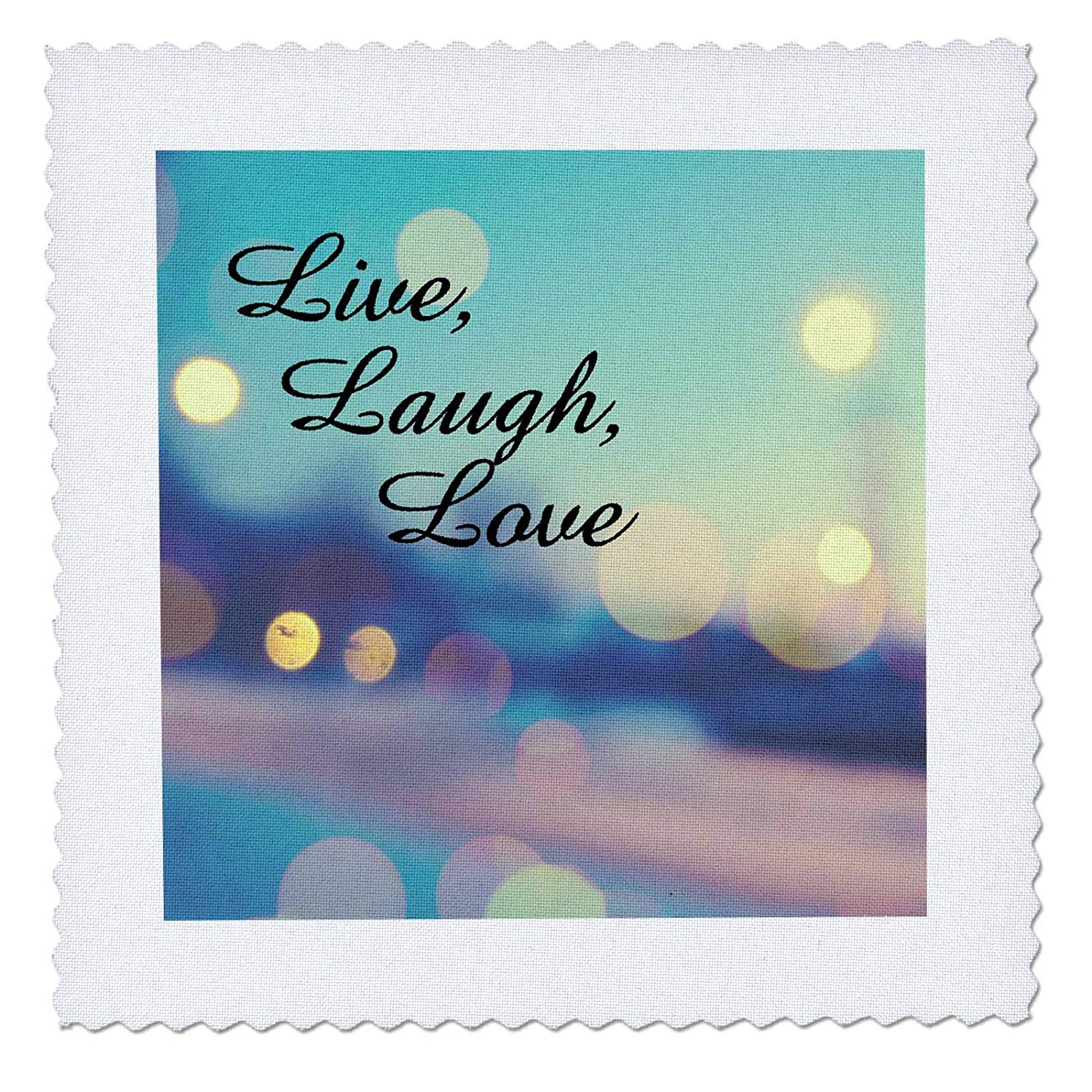 3dRose Live, Laugh, Love Expression, Blue, Purple, Pink, and Gold Lights - Quilt Square, 12 by 12-Inch (qs_164014_4)