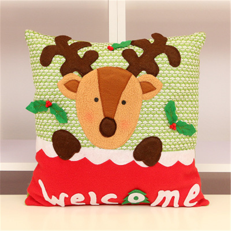 Hot Sale Christmas Decorative Pillows Christmas Gifts Elk Santa Snowman Pillow Cushions