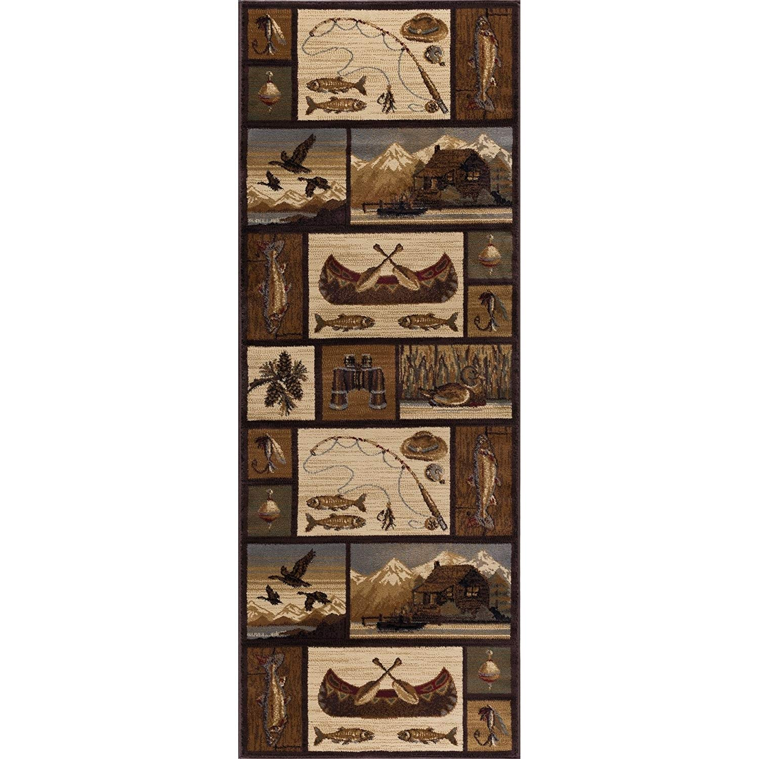 N2 2'7 x 7'3 Brown Tan Hunting Theme Runner Rug Rectangle, Indoor Grey White Fishing Canoe Pattern Hallway Carpet Wildlife Themed Entryway Lodge Cabins Ducks Fish Entrance Way, Polypropylene