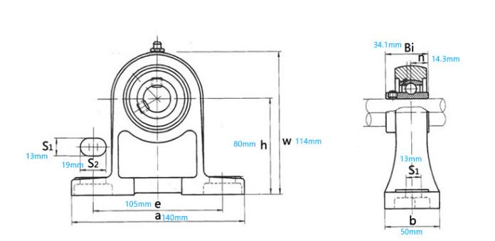 UCPH205 bearing drawing