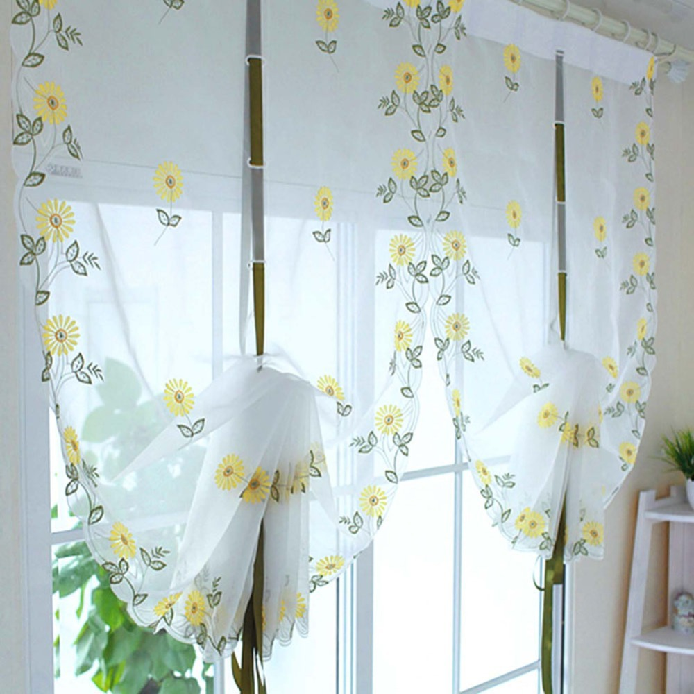 New Embroidered Sunflowers Shade Sheer Voile Cafe Kitchen