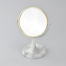 Delicate Free Standing Tabletop Plastic Sided Round Mirror