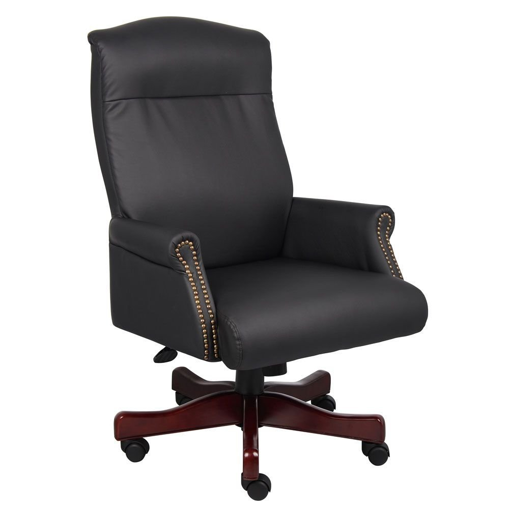 "27""W Boss Widmore Traditional Vinyl Judges Chair Dimensions: 27""W x 29.5""D x 43-46.5""H Seat Dimensions: 20.5""Wx19.5""Dx18.5-22.5""H Weight: 52 lbs. Black Vinyl/Mahogany Finish"