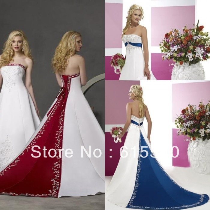 Retro-style-silver-embroidery-satin-white-and-royal-blue ...