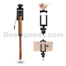 Levanpro Foldable Wired Full-Grain Leather Self-Timer Selfie Monopod Stick for Apple/Andriod Mobiles-Coffee