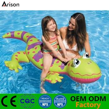 Gecko Shaped Lifelike Floating Ride Inflatable Pool Lounge Inflatable  Cartoon Boat Toy
