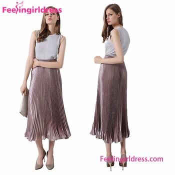 New Fashion 8 Colors Simulation Silk Ladies High Waist Pleated ...