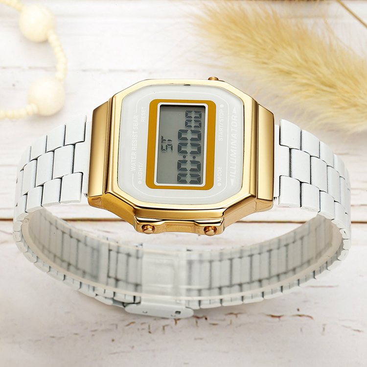 Summer colorful digital electronic watch Alloy electronic Wristwatch Multicolor steel strap watches