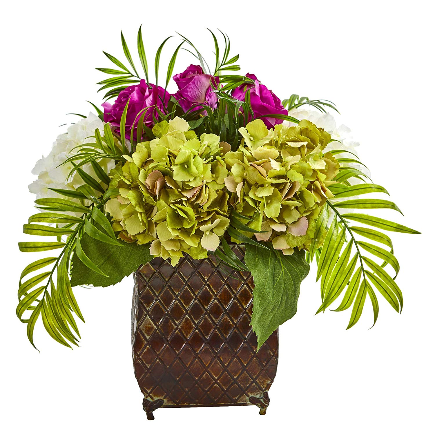 Nearly Natural 1701-PP Roses and Hydrangea Artificial Metal Planter Silk Arrangements, Purple