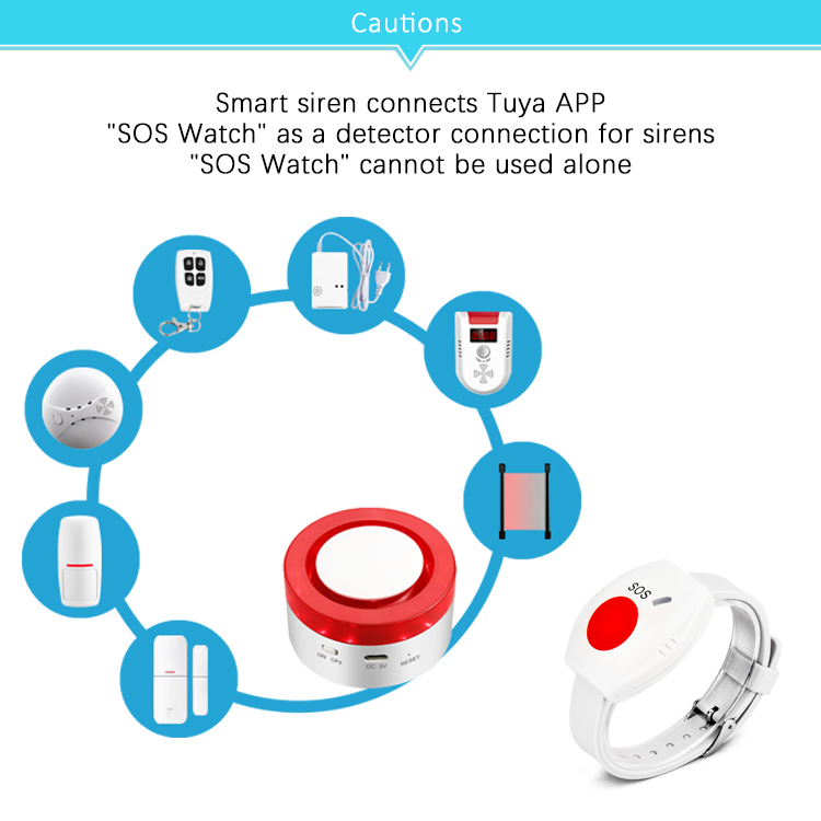 433MHz Wireless Emergency Watch Compatible Tuya Smart Home Siren Alarm Security System