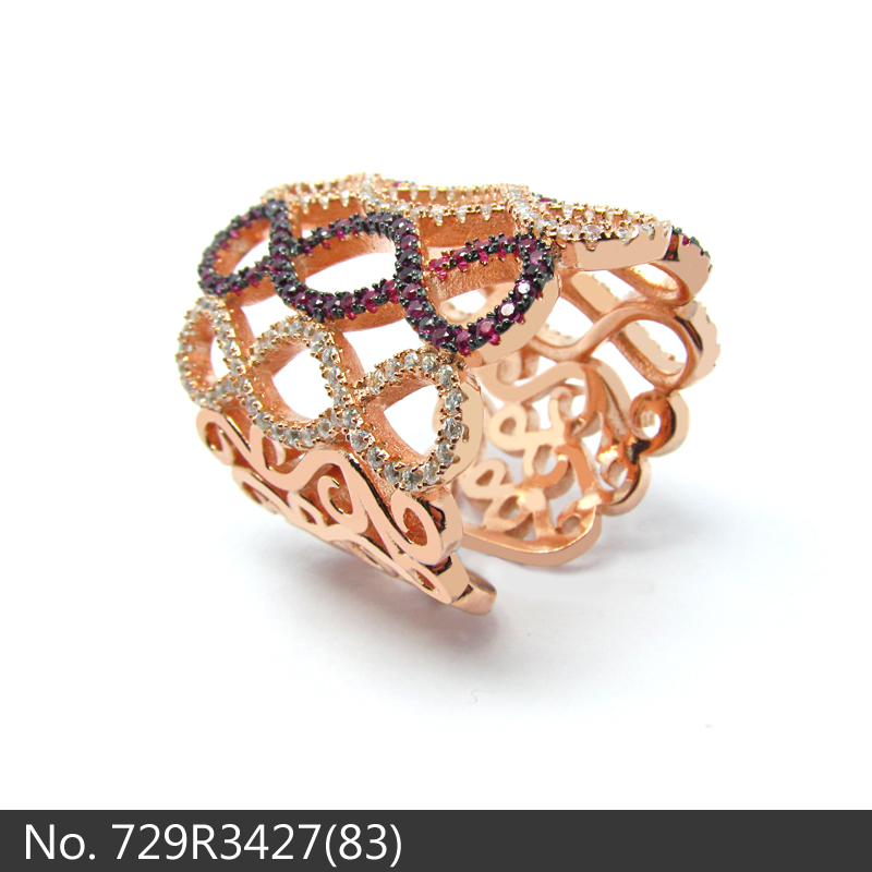 SLS Jewelry India style 925 sterling silver colorful zircon rose gold plated silver ring