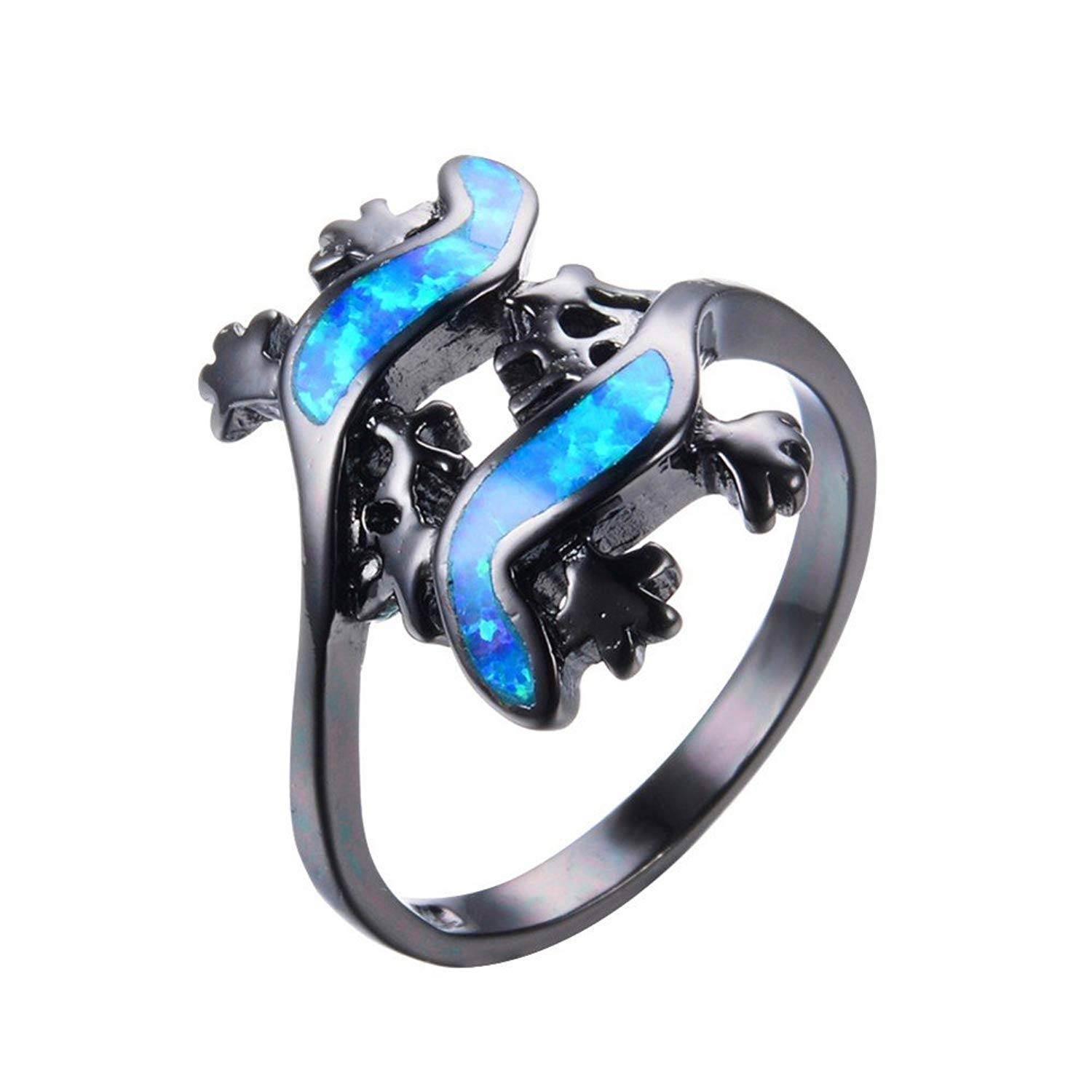 PSRINGS Lizard Shape Blue Fire Opal Rings Male Black Gold Filled Wedding Party BCharm Ring Unique Jewelry