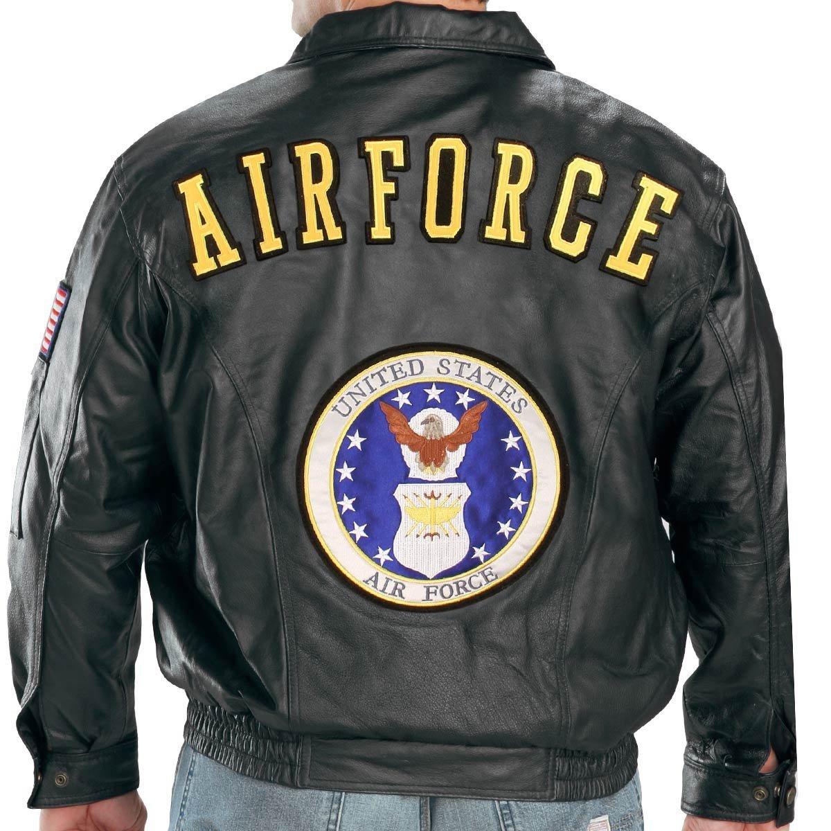 USA Leather Mens Airforce Black Leather Jacket - 3X-Large