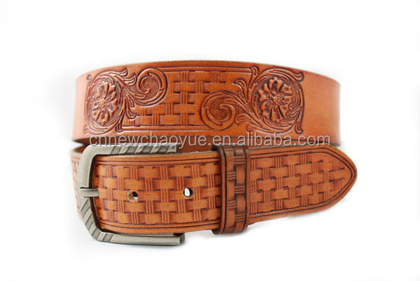 Genuine cow hide belt men's embossed double pins belt