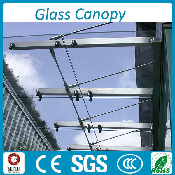 Outdoor Steel Frame Glass Roof Canopy For Entry Front Door