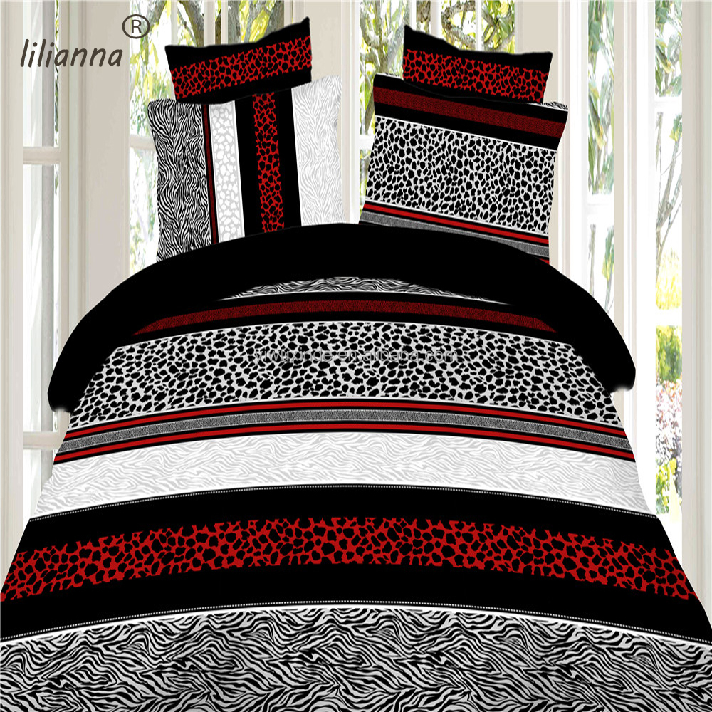 2016 new classical animals striped 3d bedding sets red white and black 3d bedding sets