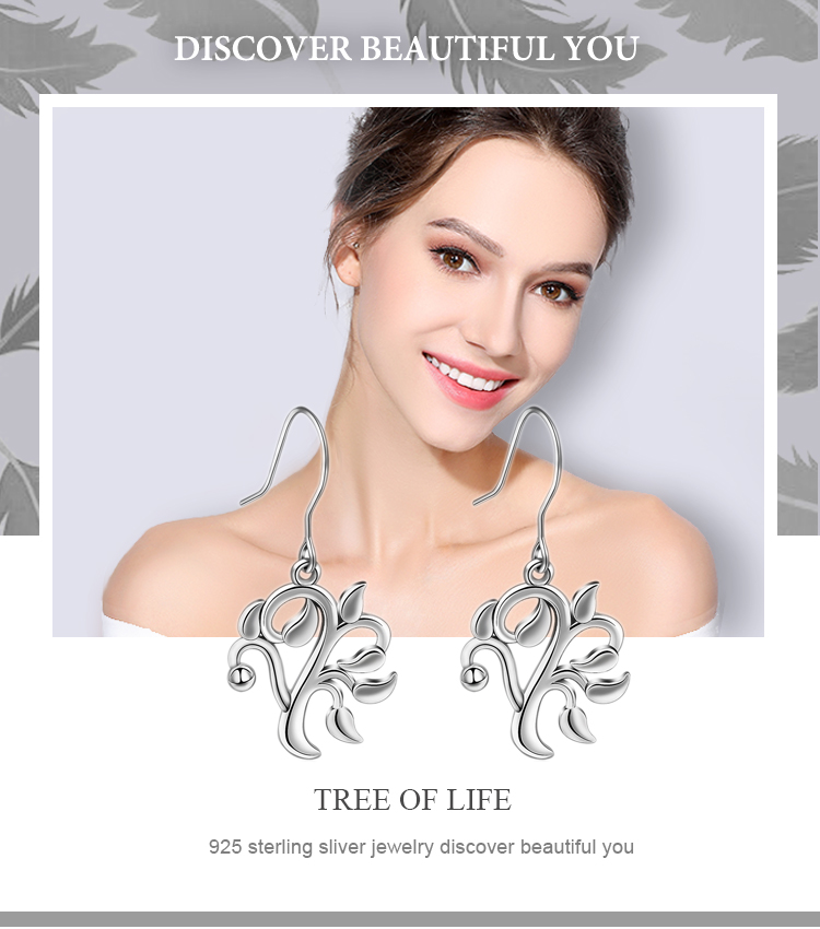 Women Jewelry 925 Sterling Silver Family tree of life Dangle drop Earrings