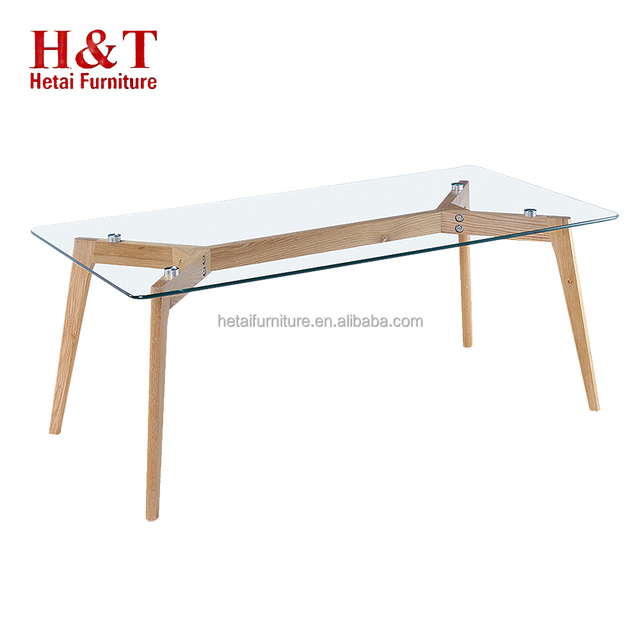 Competitive Price Mdf Coffee Table Modern Glass Top With Oak Legs Coffee Table - 9754
