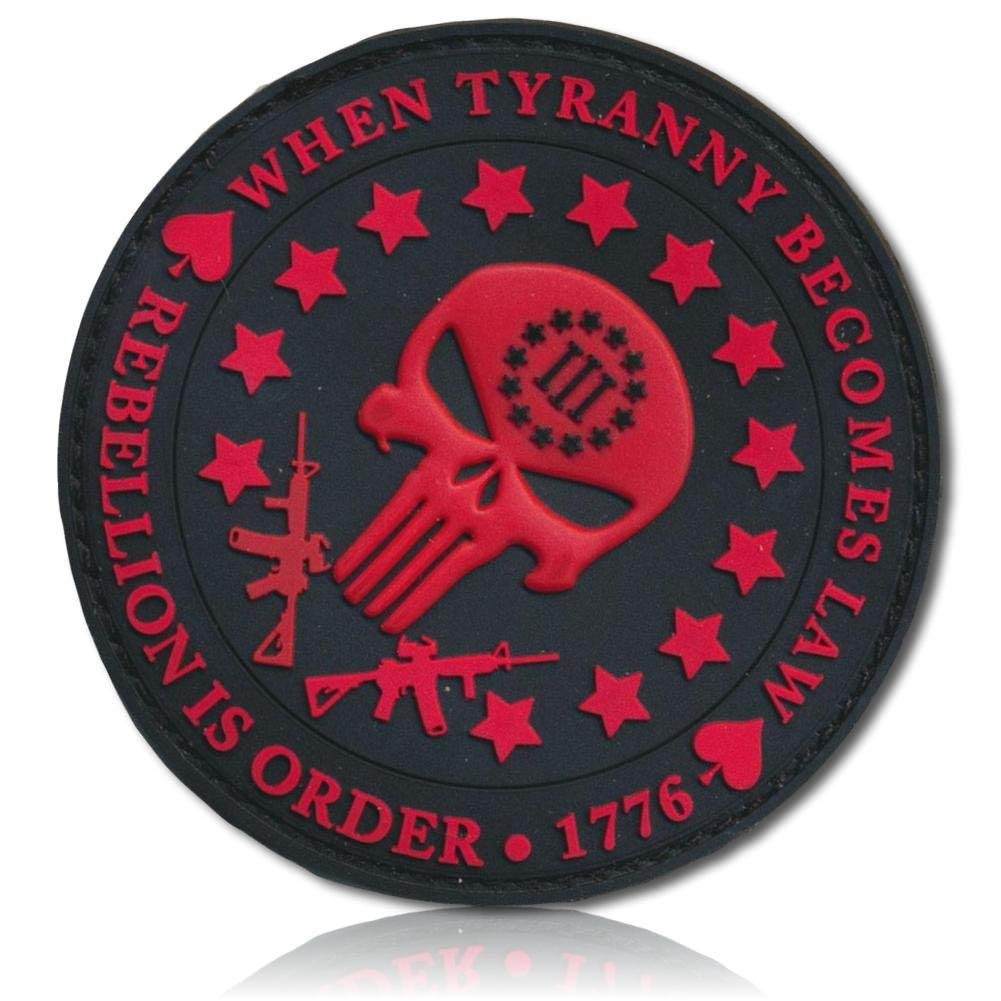 """[Single Count] Custom, Cool & Awesome {3"""" Inches} Round Circle When Tyranny Becomes Law Rebellion Is Order Skull & Assault Rifles (Tactical Type) Hook & Loop Fastener Patch """"Red & Black"""" {LICENSED}"""