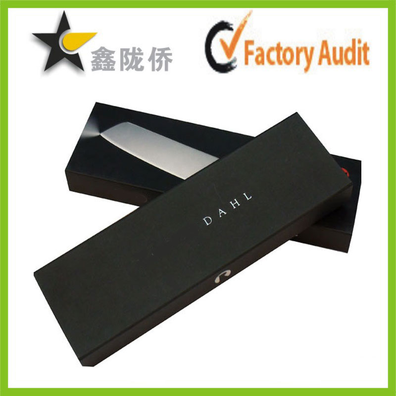 Customized Matt Black Uncoated Paper cardboard Sliding Drawer Box with silver foil logo