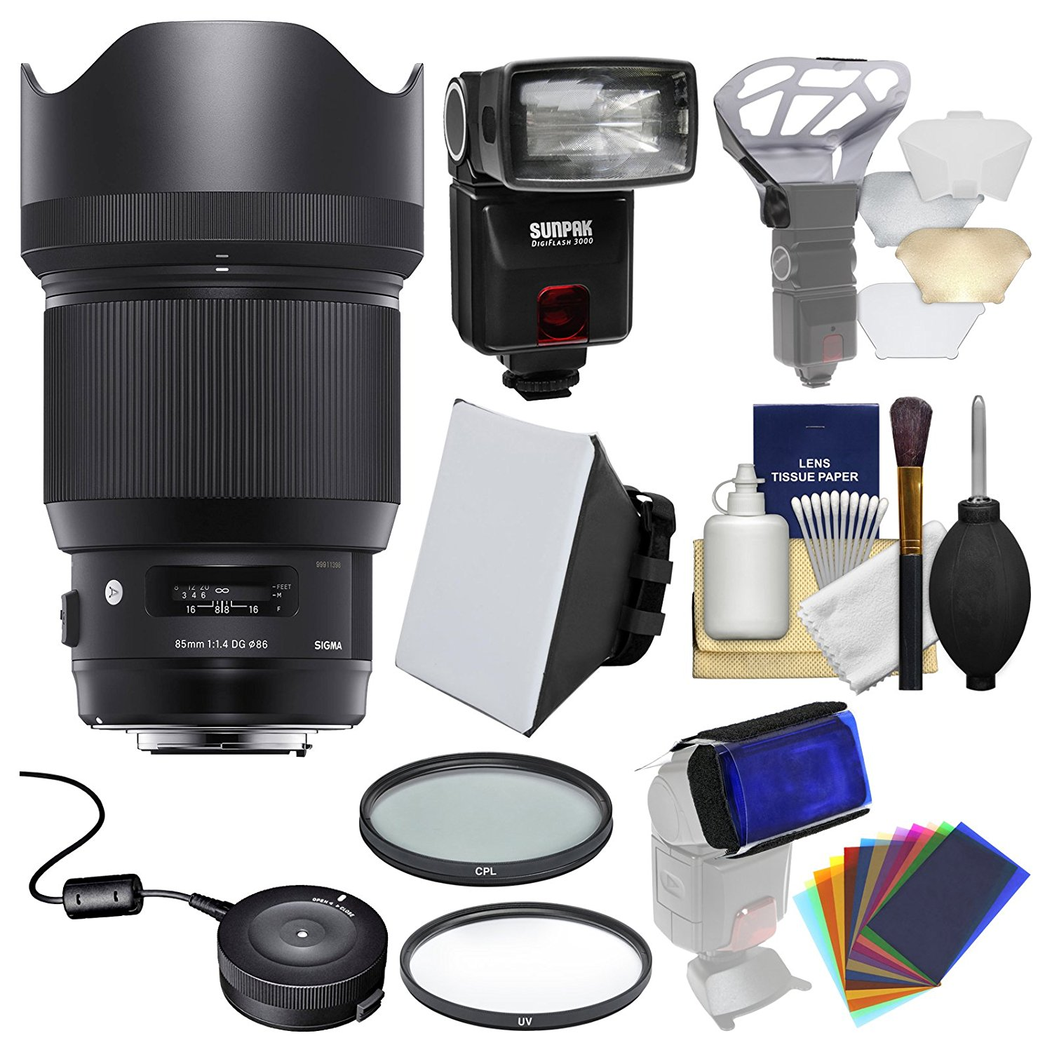 Sigma 85mm f/1.4 ART DG HSM Lens with USB Dock + Flash + 2 (UV/CPL) Filters + Soft Box + Diffuser Bouncer + Kit for Canon EOS Digital SLR Cameras