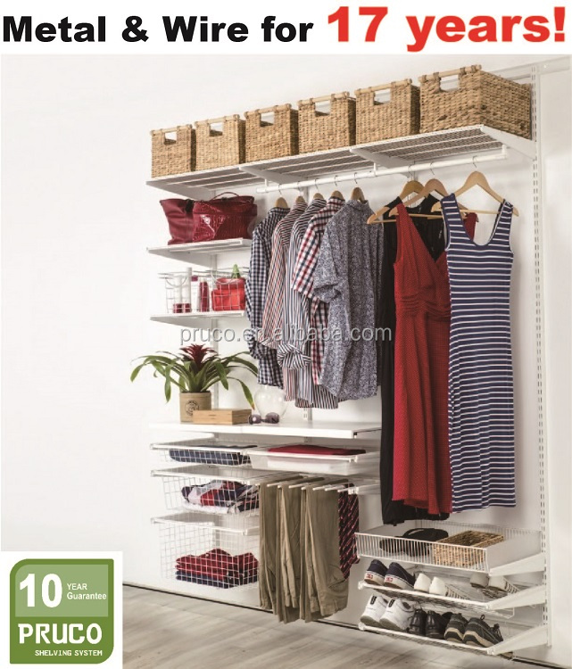 Wall mounted Metal Shelf Brackets wardrobe shelving system for bedroom furniture