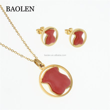 Cheap Wholesale Stock Gold Zircon Jewelry Ladies Necklace Red Stone Bear Jewelry Set