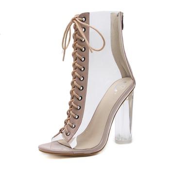 8c0ed2a75 2017 european fashion lace up transparent block heel perspex shoes clear  pvc summer sandals boots women