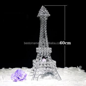 60cm Height Crystal Pendants Iron Eiffel Tower Candelabras Wedding