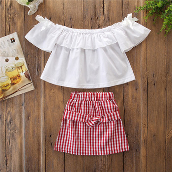 INS Hot Sale Kid Girls Clothes Cute white shirt + plaid skirt Summer Cotton baby girls Clothing Set