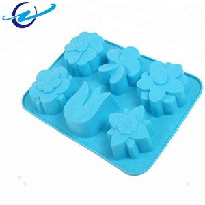 Factory wholesale best selling products 6 cavity different shape flower shape funny silicone cake mold