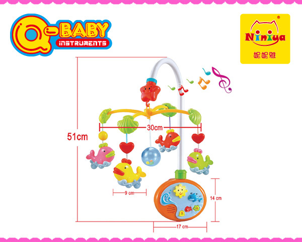 plastic baby mobile bell toys with light and music