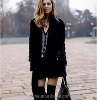 016 new autumn winter coat women Faux fur coat Fake rabbit fur jacket casual striped loose Black Overcoat