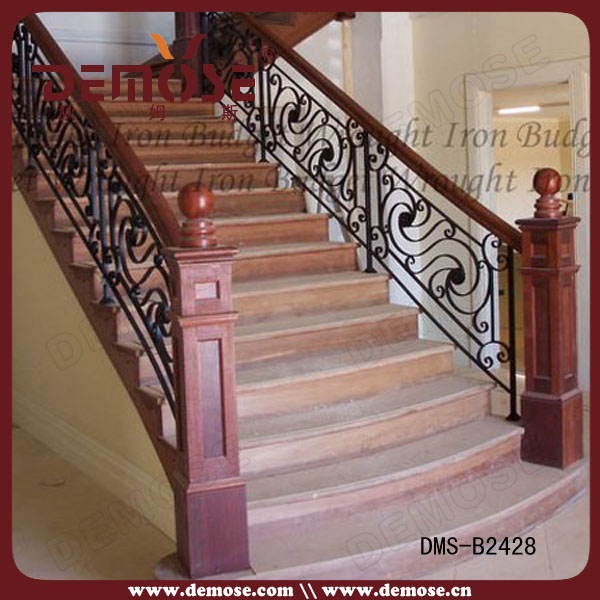 Residential wrought iron stair railing balustrade grill - Modelos de escaleras de madera ...