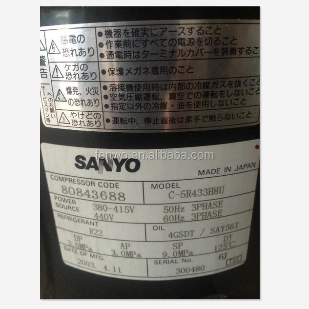 Sanyo C-5r433h8u 5 Ton Compressor R22 Reciprocating Compressor For  Refrigerator - Buy 5 Ton Compressor R22,Sanyo C-5r433h8u,Reciprocating  Compressor