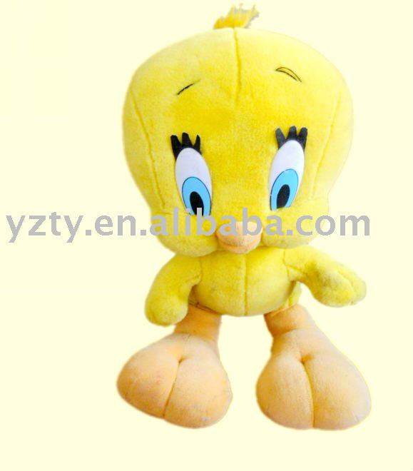 cute big headed yellow plush mascot tweety toy