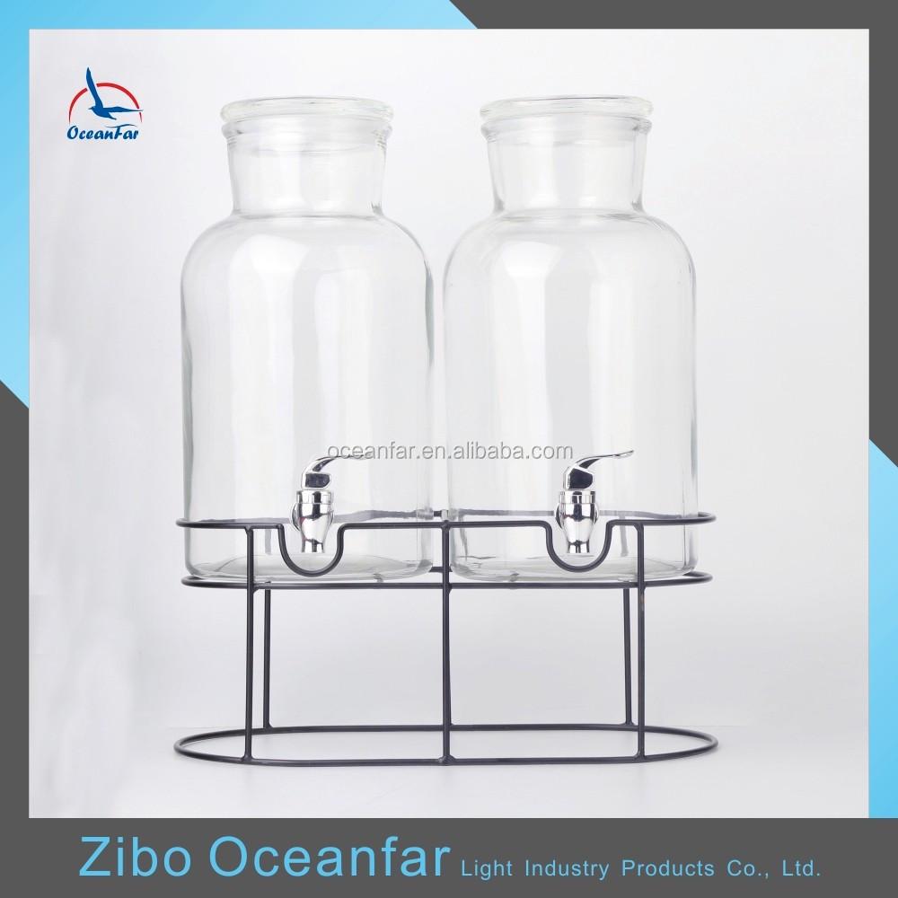 gros 6l verre boisson distributeur de boissons ensemble clair de 2 bocal en verre avec robinet. Black Bedroom Furniture Sets. Home Design Ideas