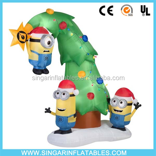 Animated airblown inflatable minions christmas decoration outdoor led lighting up christmas tree