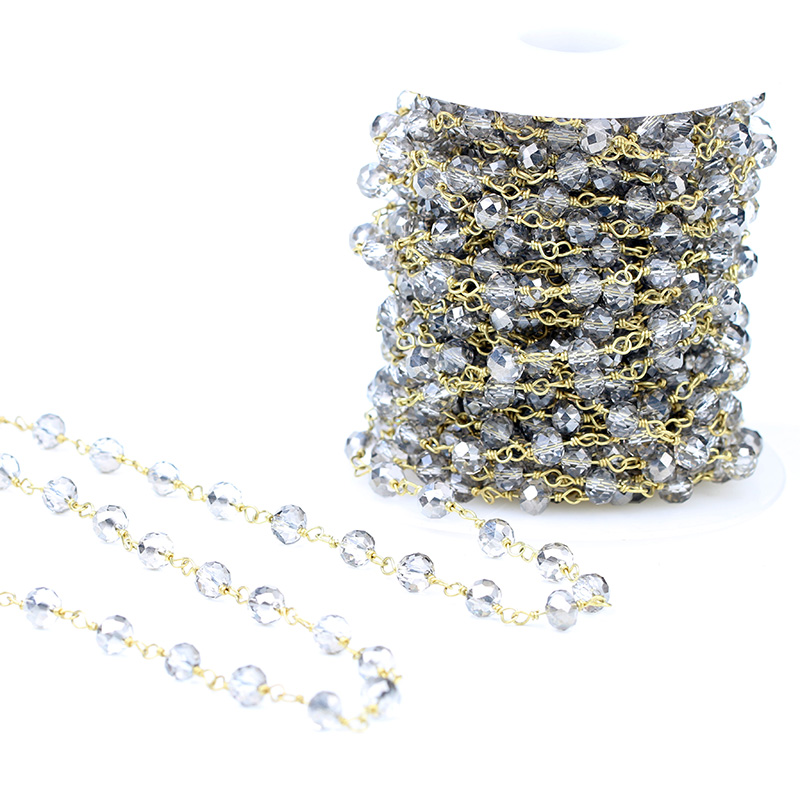 Natural Crystal Stone Rosary Chain Faceted Abacus Loose Beads
