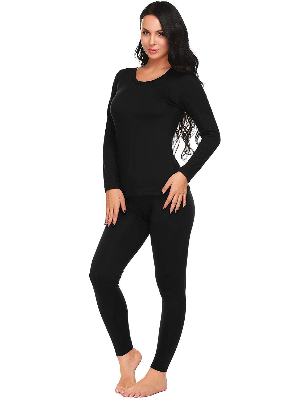 8eddc7fcd557 Get Quotations · etuoji Women's Long Thermal Underwear Fleece Lined Winter  Base Layering Set (Black,Medium)