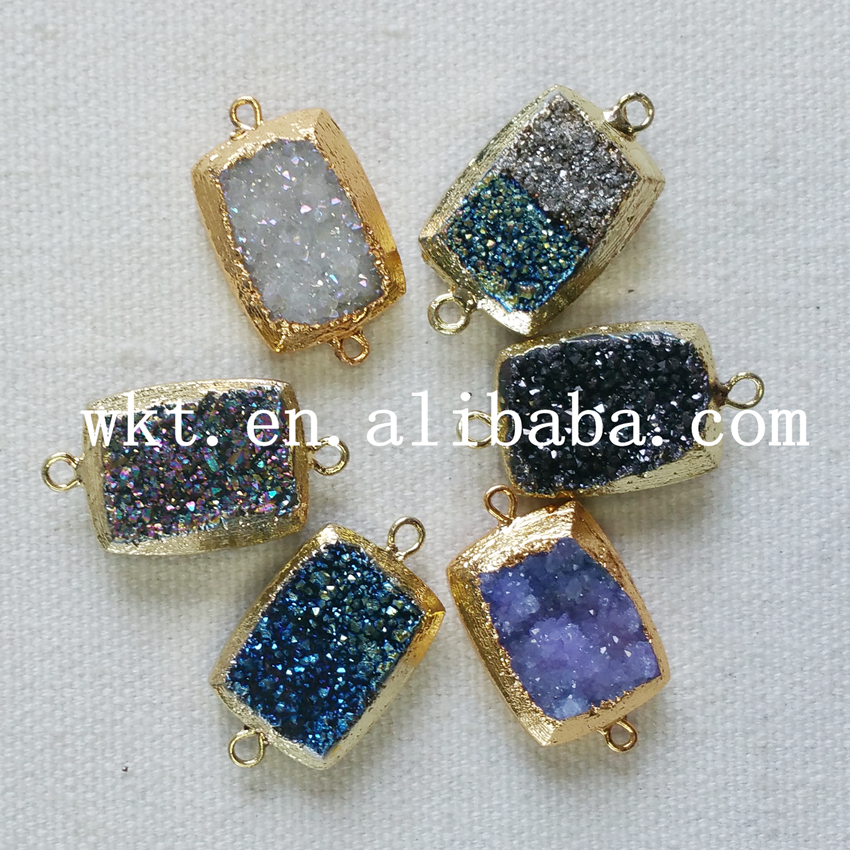 WT-C089 Wholesale Natural colorful titanium druzy quartz jewelry findings, gold plated titanium quartz druzy jewelry findings